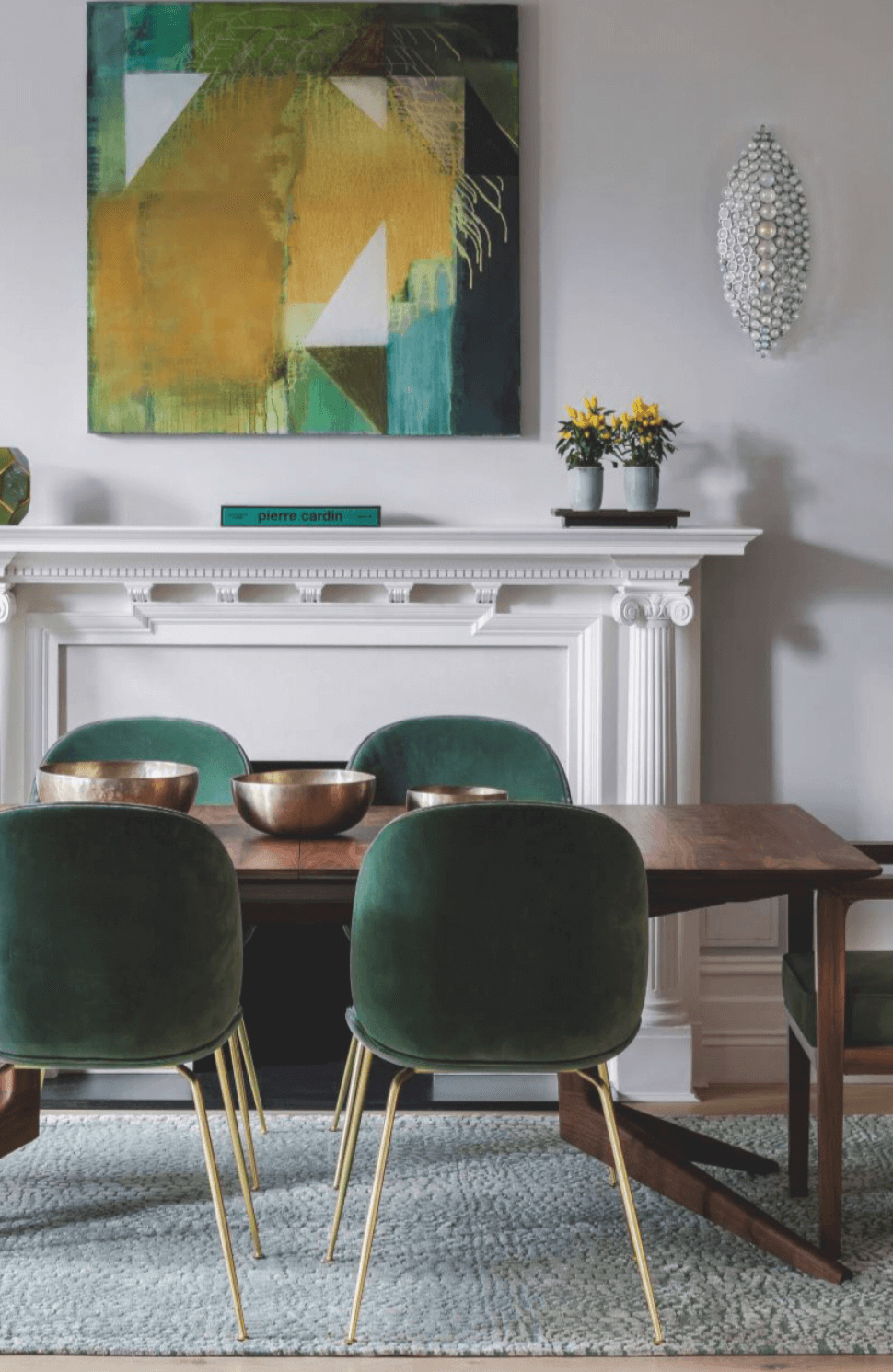 Eclectic Dining Room w/Moss Green Velvet Chairs