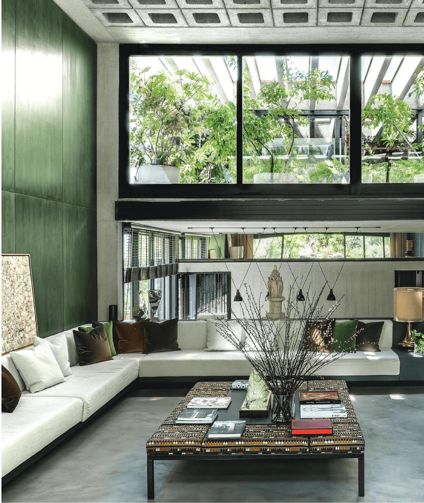 Moss Green paneled wall; Lobby; Living Room