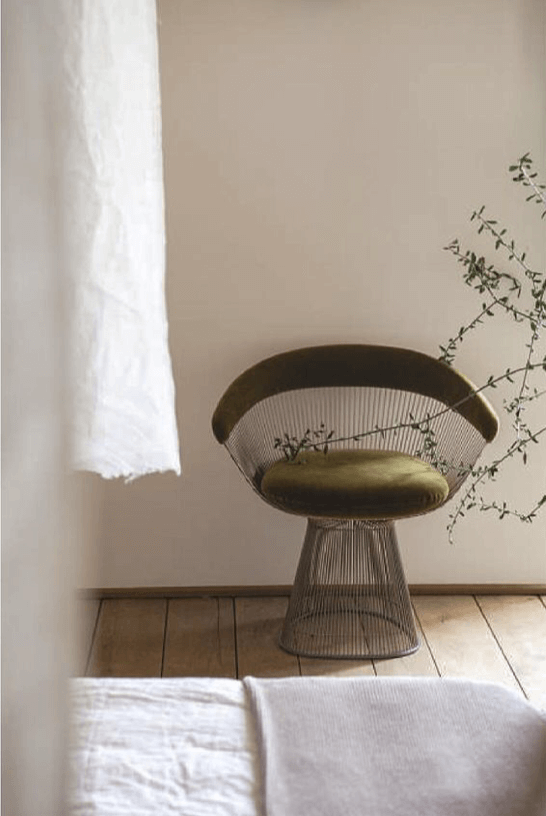 White Bedroom with Platner Barrel Chair - Moss Green velvet