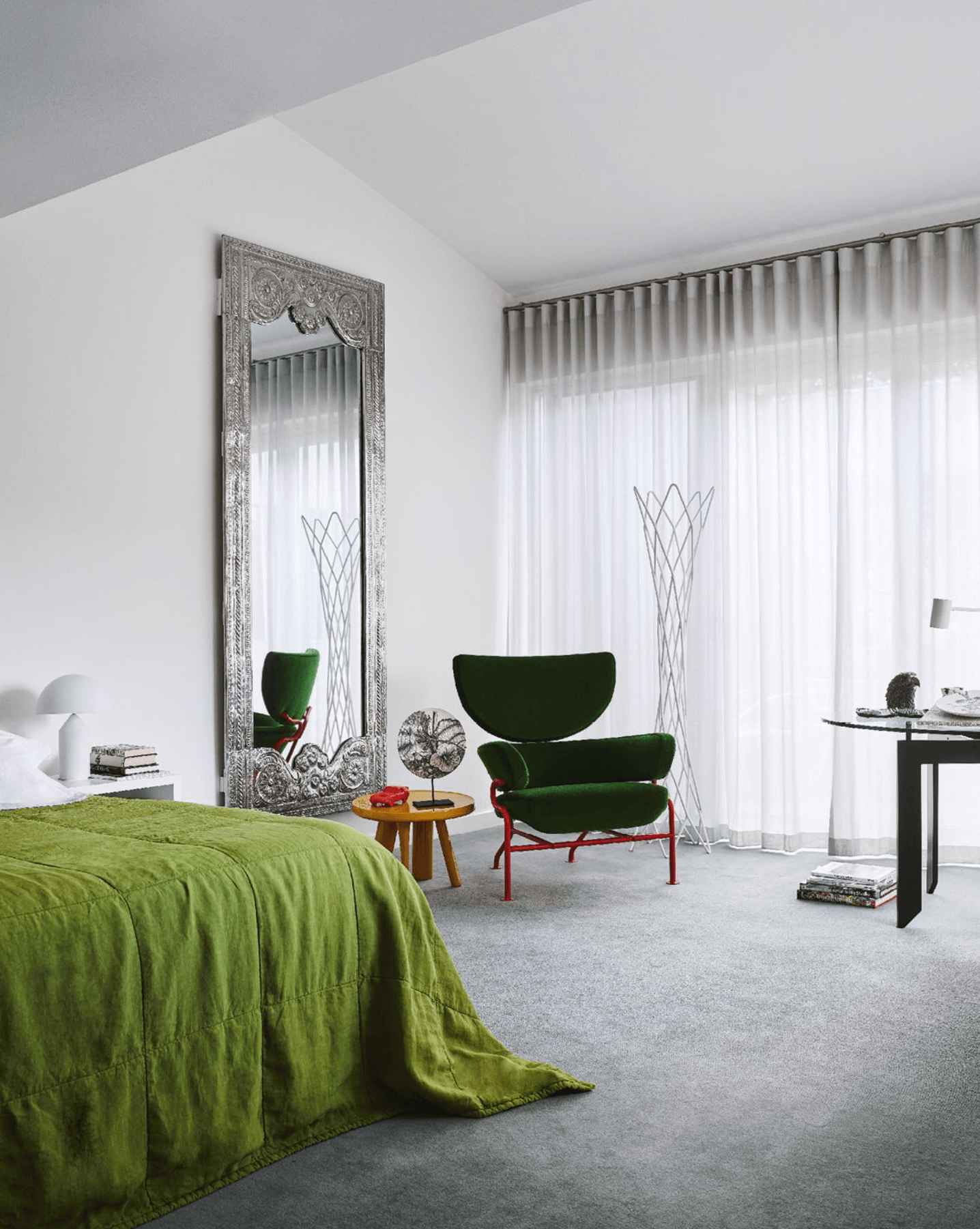 Eclectic Bedroom, White Walls, Green color accents, 836 Tre Pezzi Armchair