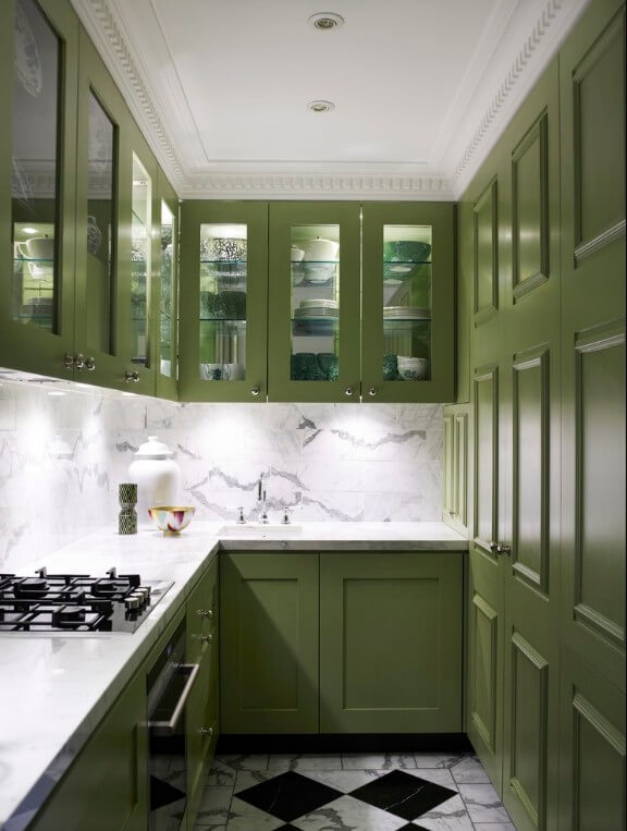 Tiny Kitchen, Moss Green cabinets, Small kitchen design ideas, small space squad
