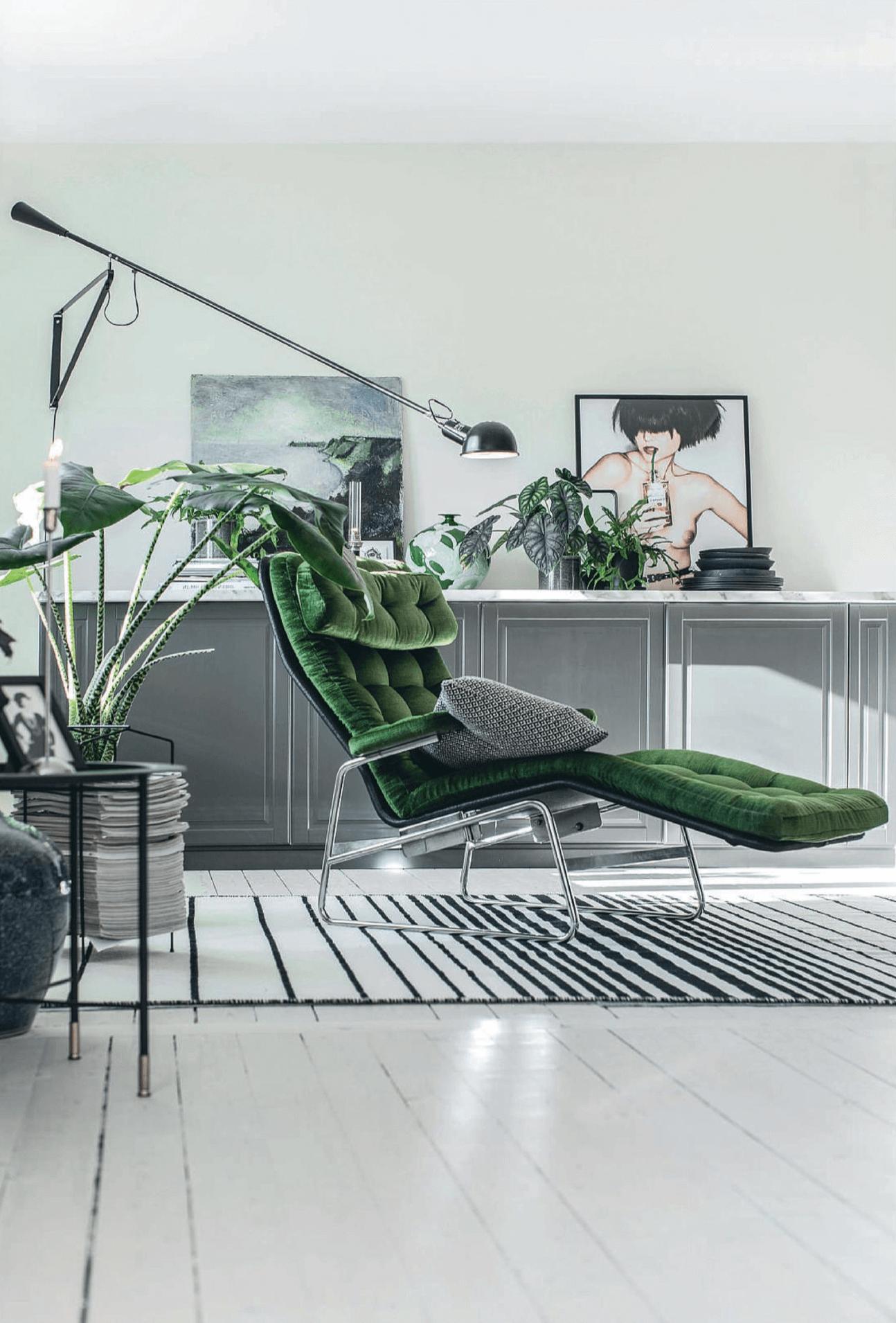 Eclectic, Modern Living Room, moss green velvet chaise lounge