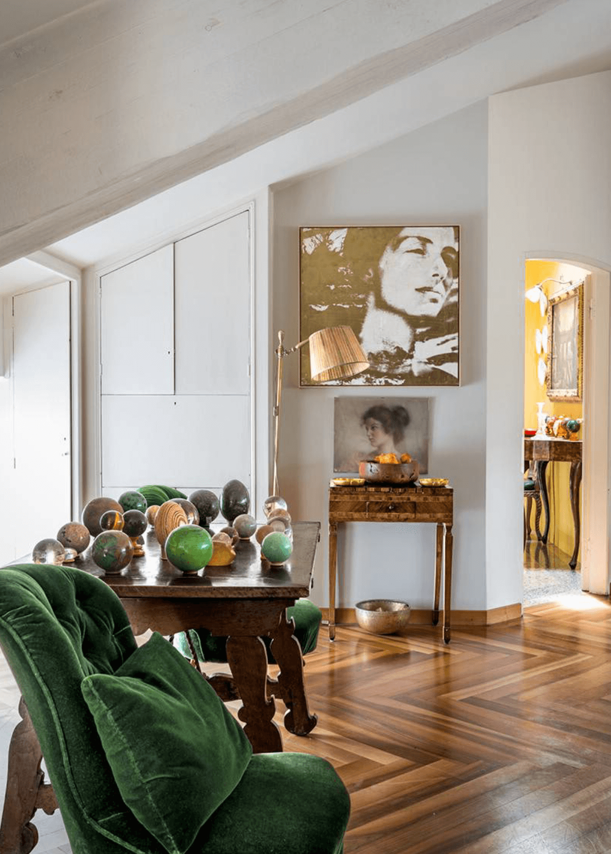Eclectic Living Space, green velvet, stone orb collection, modern art