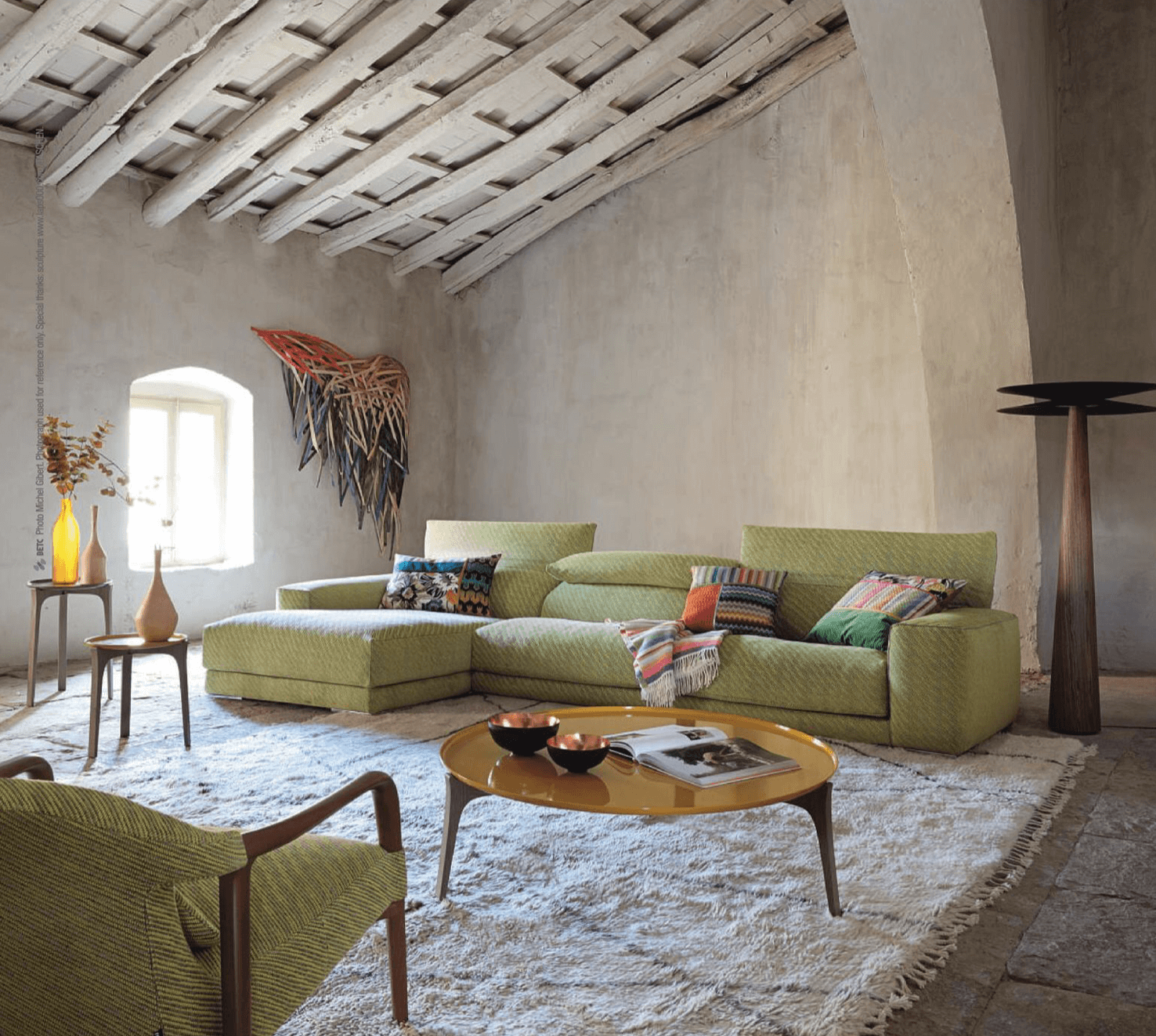 Attic Living Room, exposed beams, Roche Bobois Upside Sectional