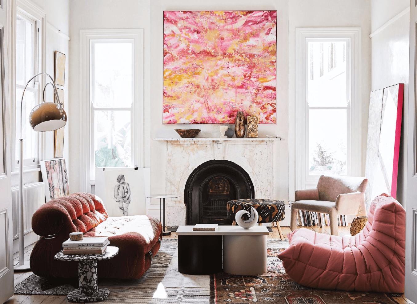 Modern Pink Living Room, Ligne Roset Togo chair, iGuzzini floor lamp, Cassina Soriano Sofa, Molteni Glove-up chair