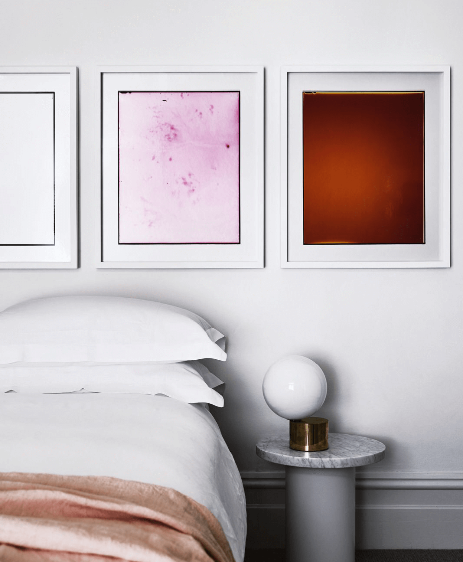 Bedroom, Justine Varga wall art, Tip of the Tongue Table lamp by Michael Anastassiades, 315 Enoki side table by Philipp Mainzer
