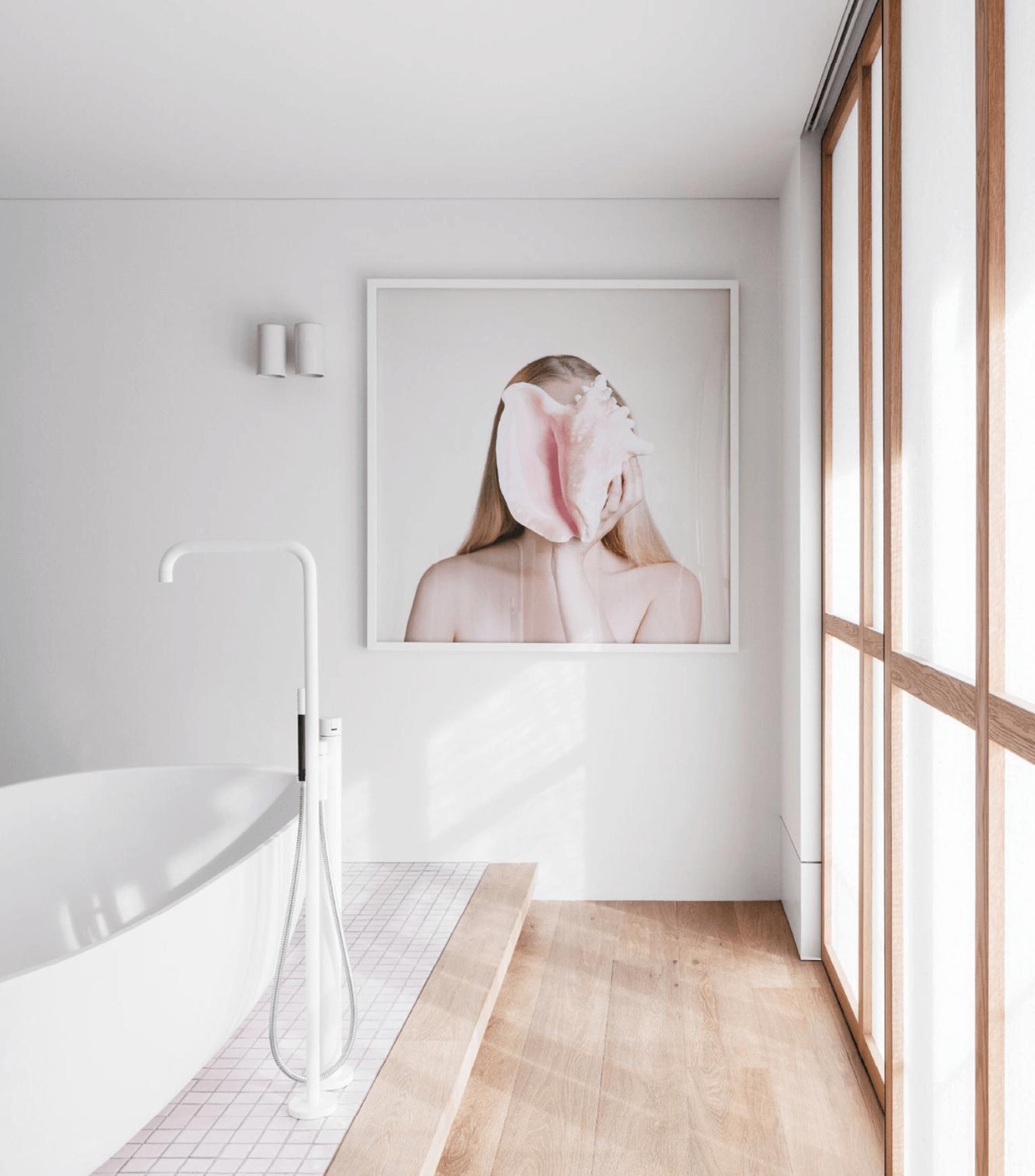Modern Pink zen Bathroom, Soji Screen, Patricia Hicks art, Boffi Iceland tub, white Vola tub filler