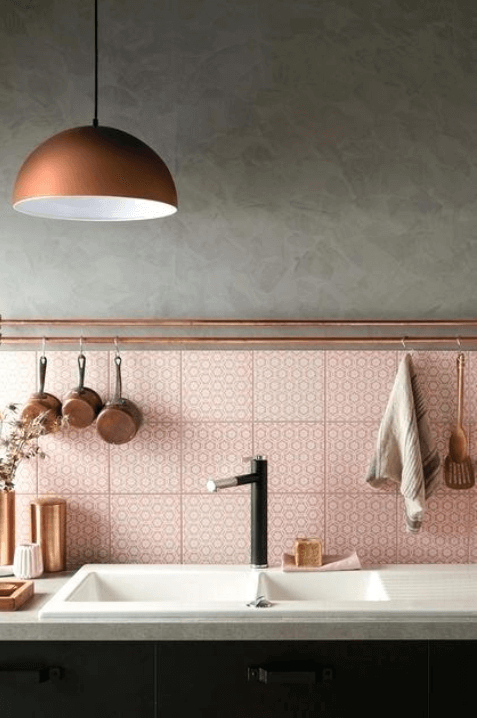 Pink Kitchen w/Cool Gray and copper accessories. Pale pink patterned tile