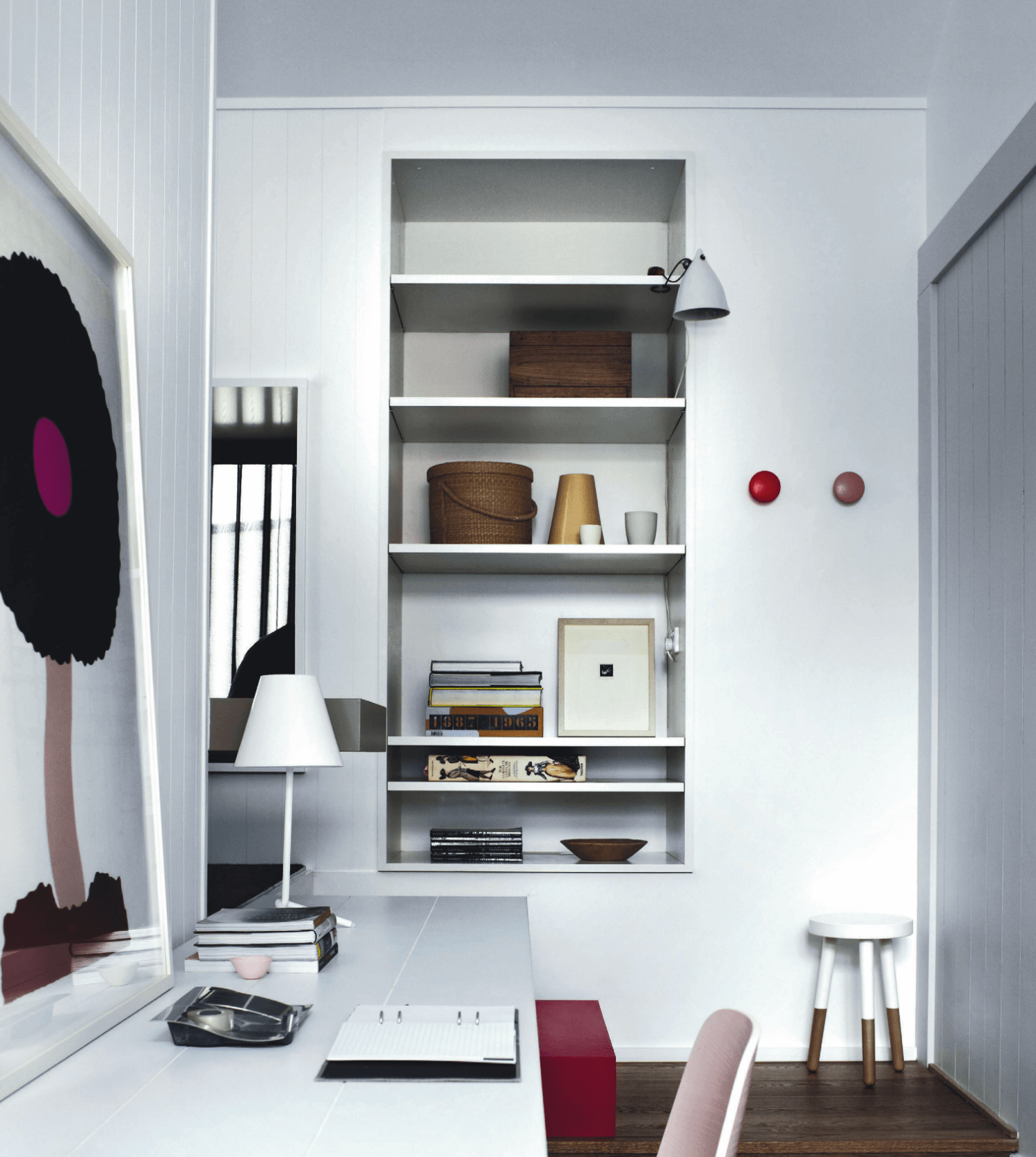 Modern home office, white with pops of pink and magenta