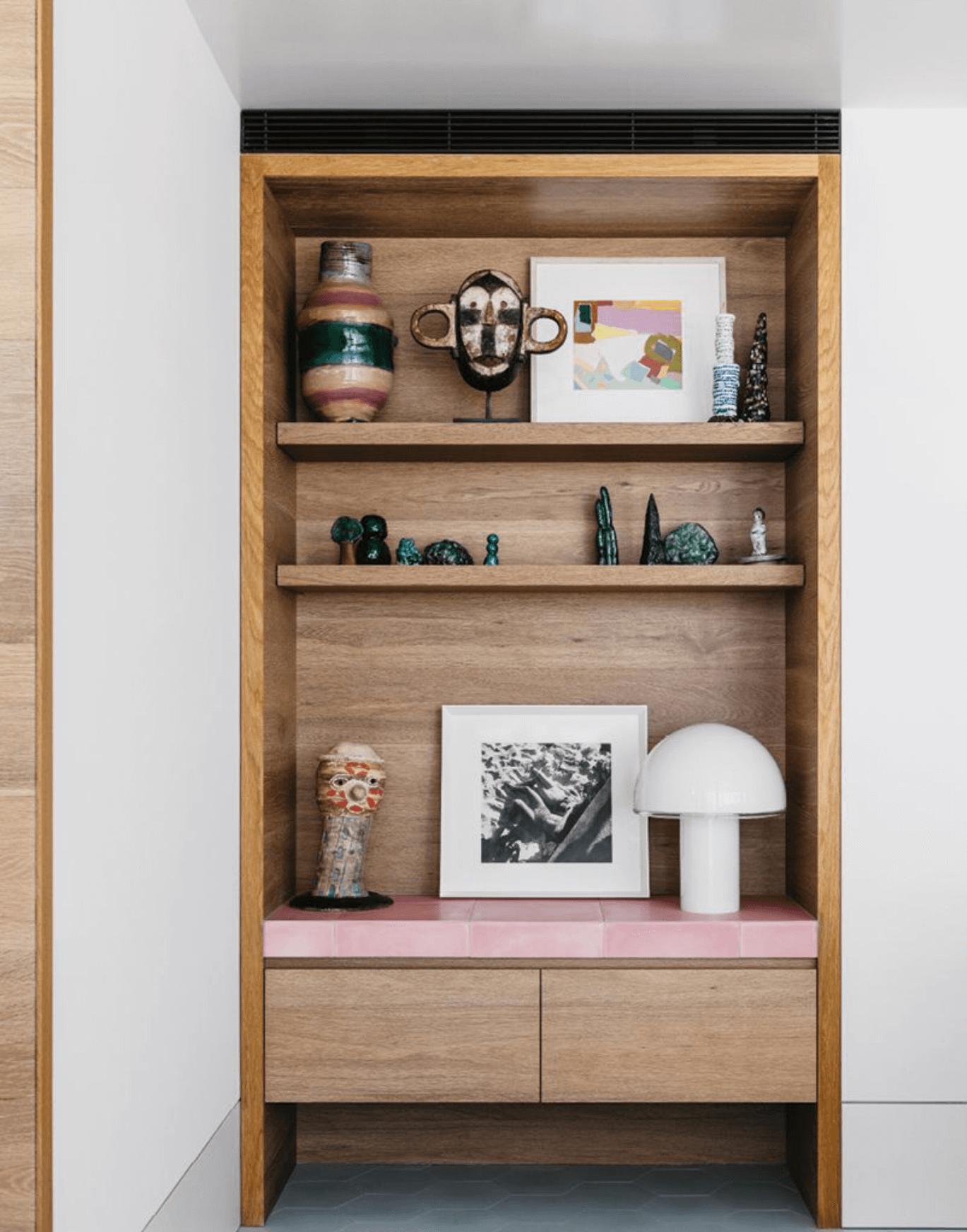Built-in Shelving, Architectural details, pink tile, Artemide Onfale lamp