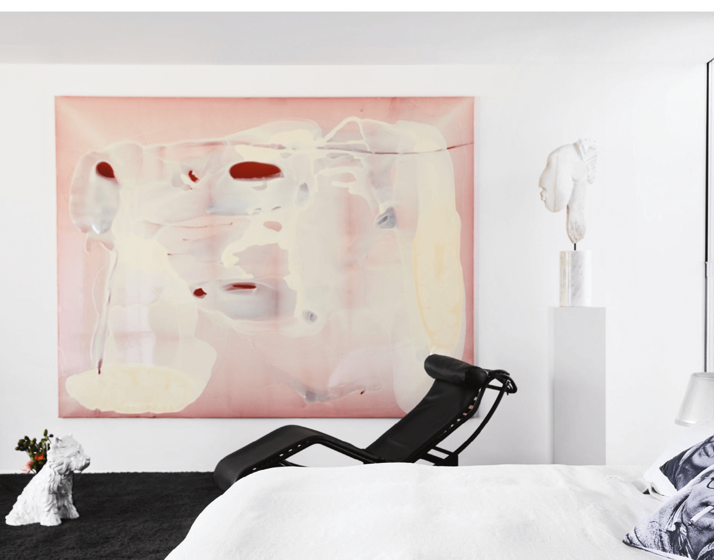 Art Gallery Bedroom, Cassina LC4 Chaise, Jeff Koons ceramic puppy vase, Joel Elenberg bust sculpture, Dale Frank pink painting, black and white space