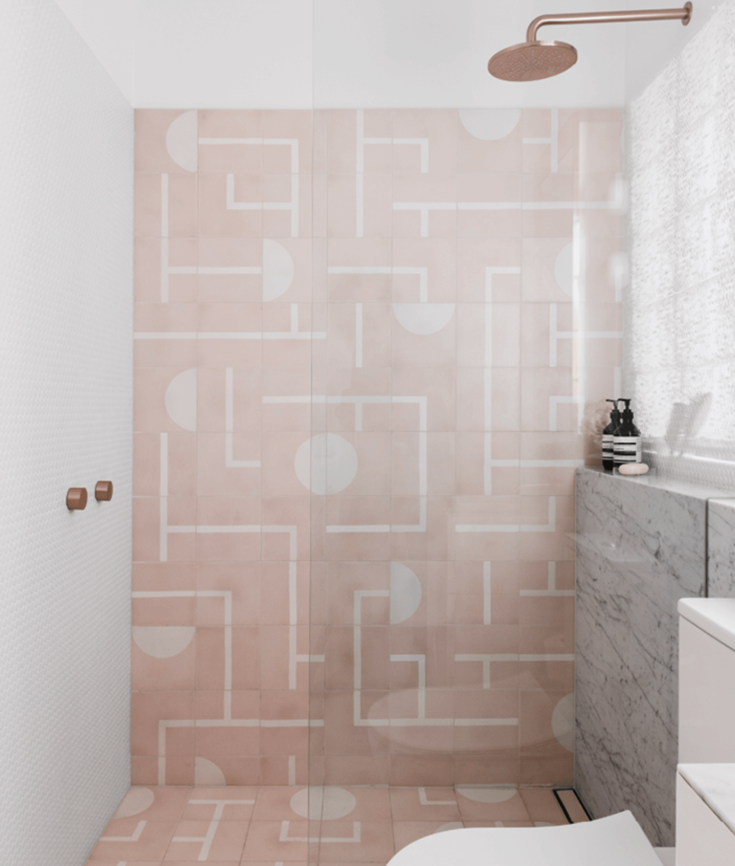 Modern pink bathroom, Popham Design Brazilia tile, Halo rose gold fixtures