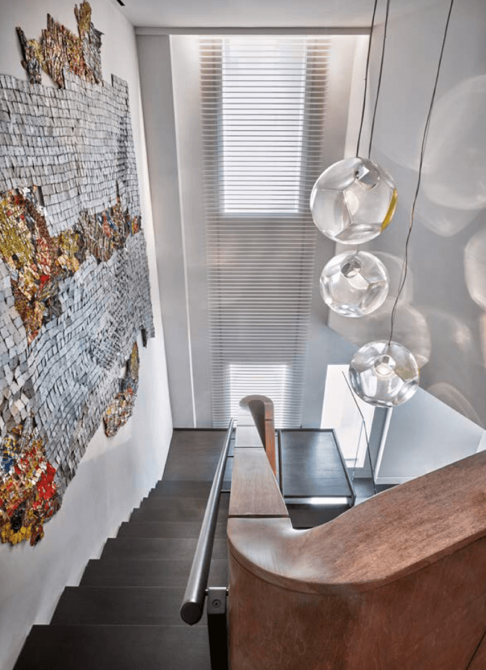 Copy of Stairwell Inspiration, white interior, oversized art, bocci pendant
