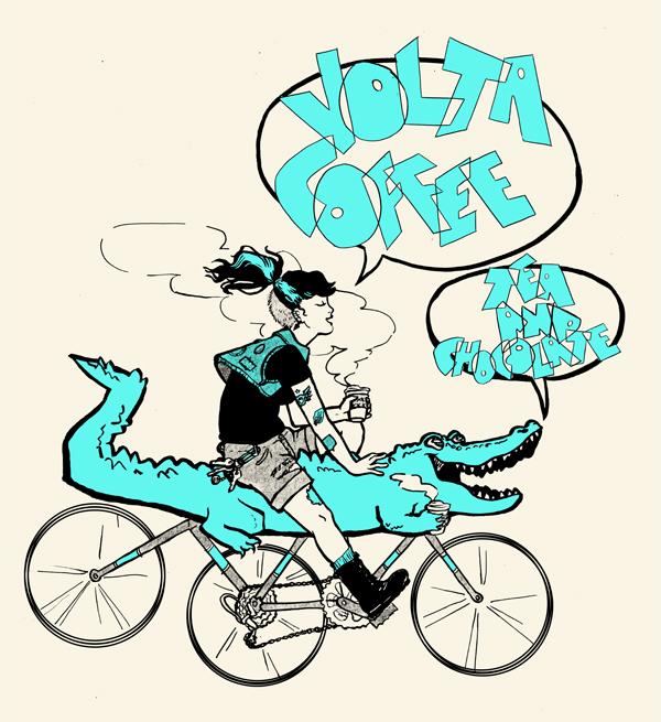 T-shirt design commission, Volta Coffee (Gainesville, FL)