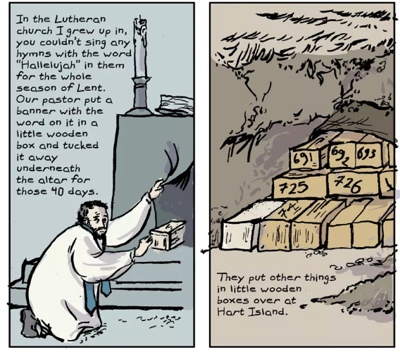 """hart island hallelujah"" —  read the full comic at The Nib"