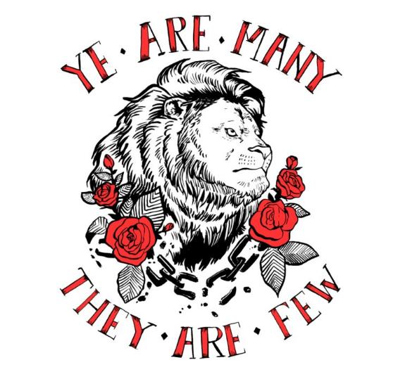 """rise like lions,"" t-shirt illo for central florida dsa"