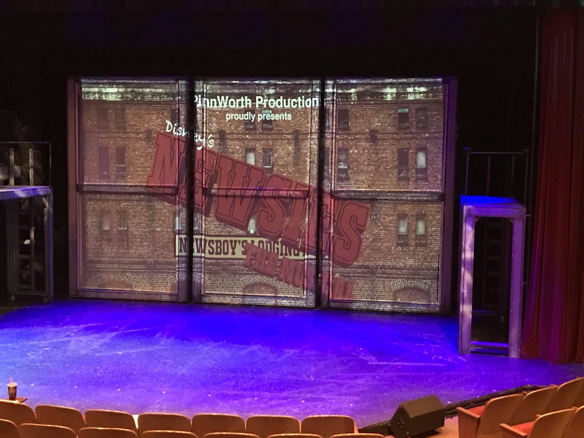 6 Projection screens - 6 pieces of black scrim cut to fit 'windows' of the towers available for purchase. Buyer to rig their own system for movement (but we'll be happy to show you what we did).