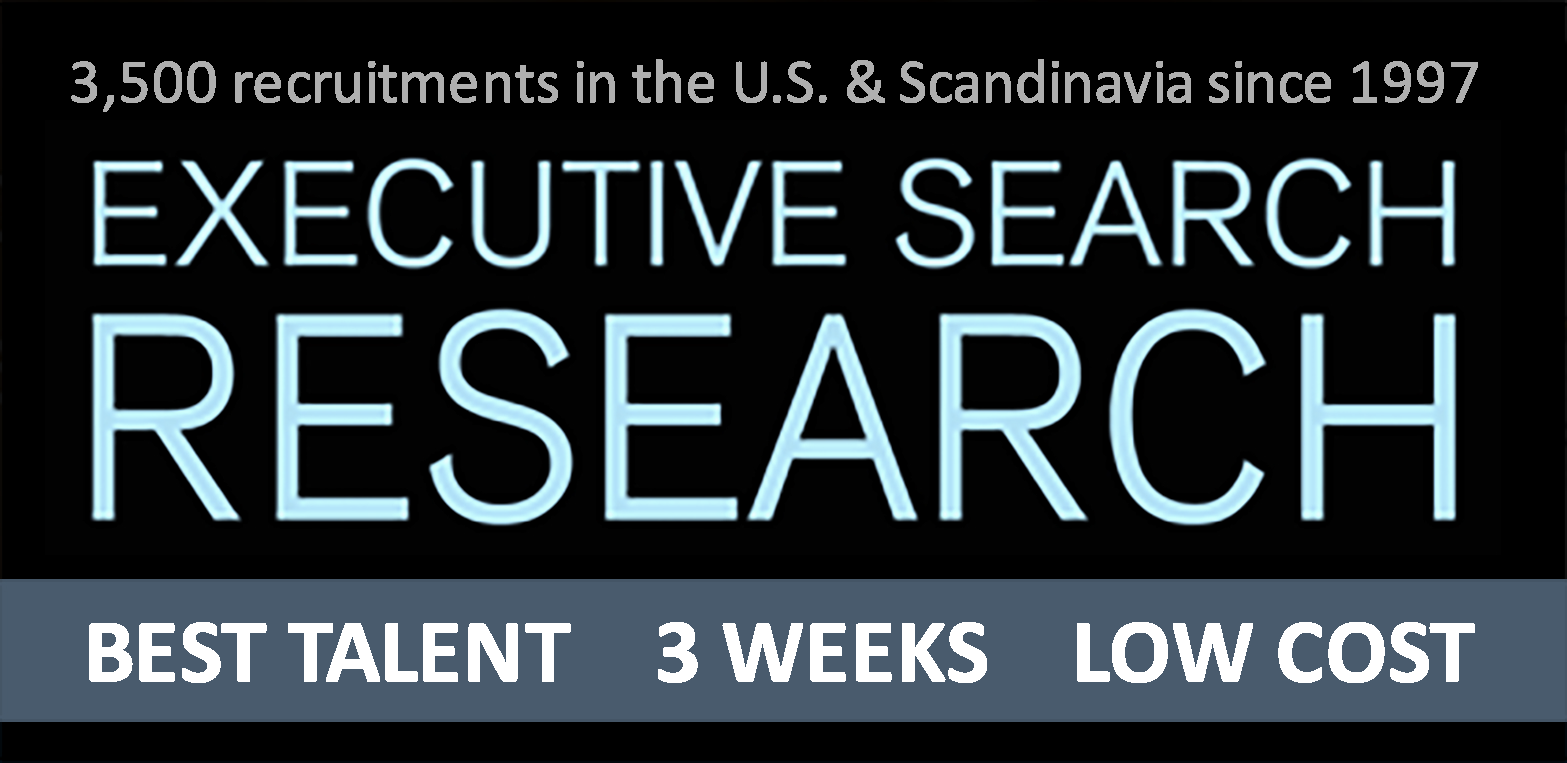Executive Search - Executive Search Research (ESR) has since 1997 provided top talent to 50 leading executive search firms and Fortune 1000 companies in Scandinavia and the U.S. from our offices in Los Angeles, London, Stockholm and Oslo. Our focus is strictly on the top candidates (passive) not looking for a new job, who has to be approached individually. We achieved the prestigious recognition by LA Business Journal being ranked among the very top recruitment firms, as well for the branch office in Norway becoming a
