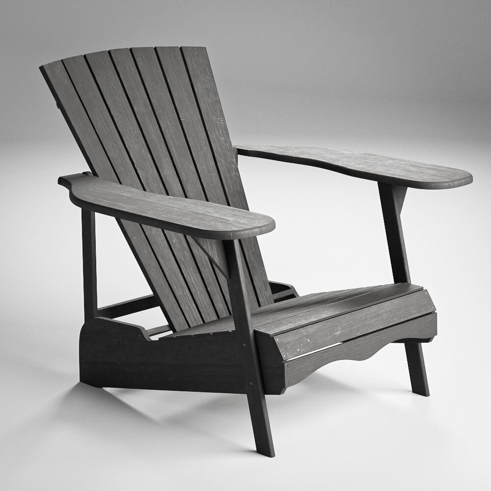 Wood Adirondack Chair - Dark gray wood finished Adirondack chair has a rustic style for any outdoor backyard scene.