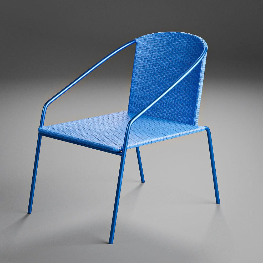 Modern Outdoor Rattan Bistro Chair - Modern woven blue rattan bistro chairs suitable for outdoor patio, deck, beach, backyard, or garden scene