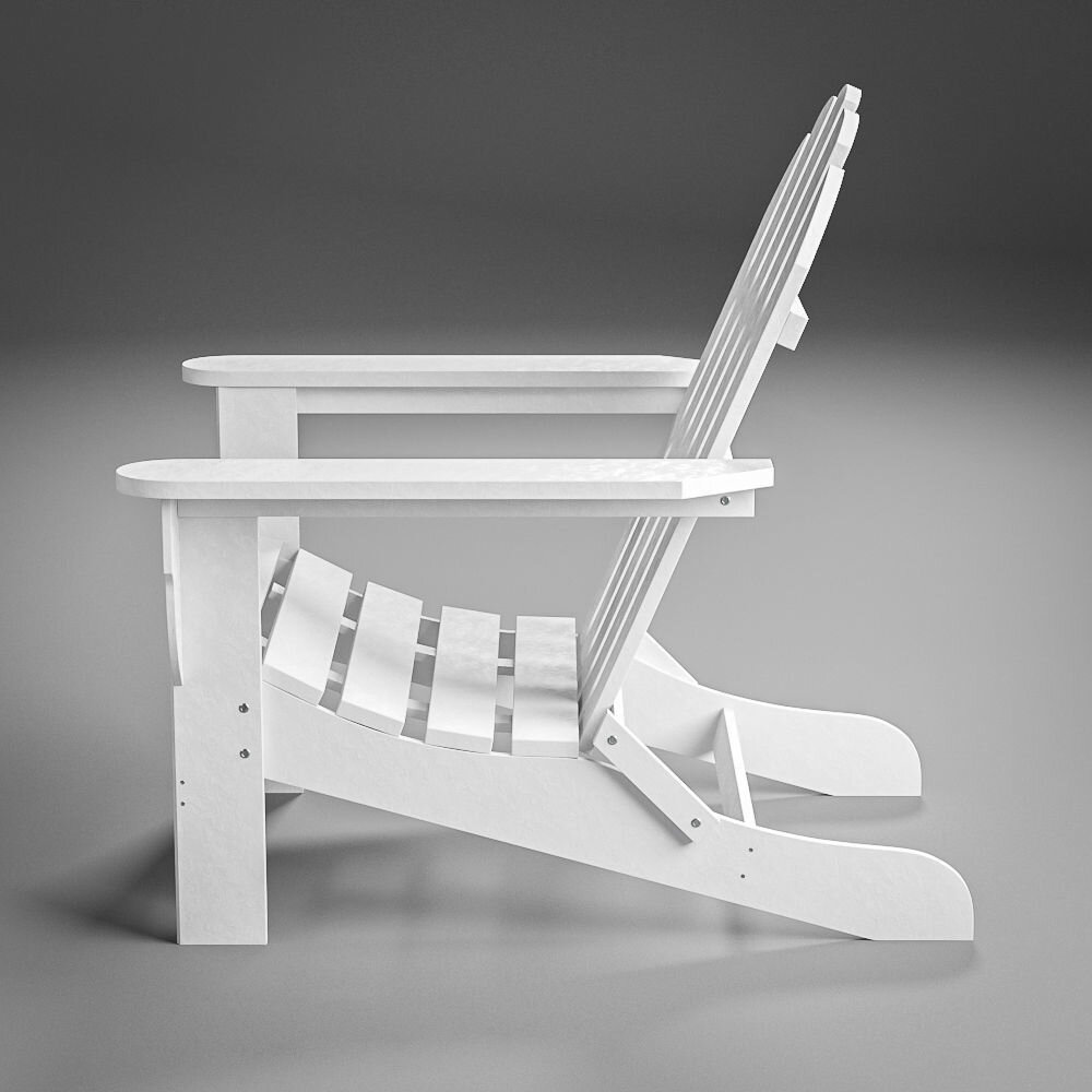 White Plastic Adirondack Chair - White Adirondack outdoor chair brings casual coastal charm to your beach-themed social media posts and summer seasonal marketing.