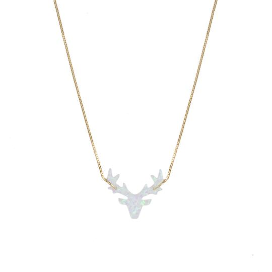 The Opal White Deer Necklace