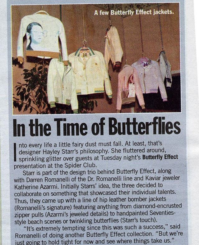 TBT TO WHEN WWD FEATURED OUR 'BUTTERFLY EFFECT JACKETS'... In 2008, my friends Kathy Rose and Darren Romanelli and I collaborated on these awesome jackets. Then we had a big party, as we did back then!!! So fun. @thekathyrose #wwd #butterflyeffect