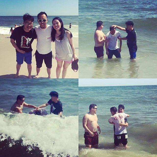 "Another beach baptism: Dylan's been coming to church for 4 years. For about a year, his ""one way commute"" to church took 3 hours. It's significant because our service begins at 9:30am. This trooper shared that he wished to get baptized in the right way, right mind, right spirit. We did it the right way! #beachbaptism #round2 #fbchopecenter"