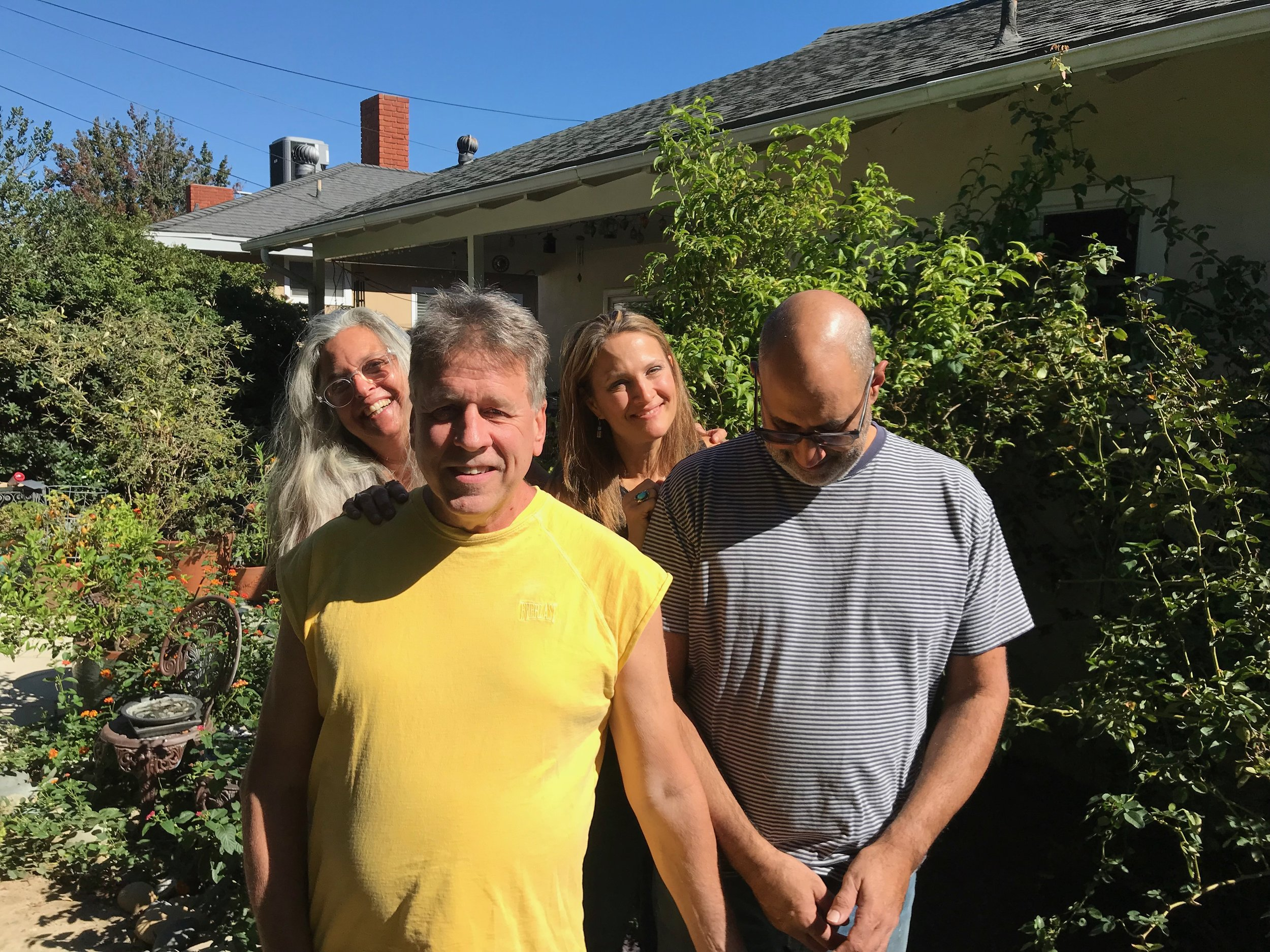 A rare real-world meeting of ccMixter collaborators in the garden warmed by the sun. With Greg Bertinelli (Copperhead), Haskel Joseph, and Emily Richards Nogowski (Madame Snowflake).
