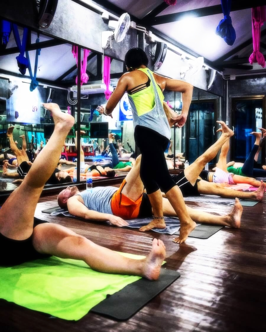 Yoga for fighters, yoga for muay thai fighters, deep stretch yoga, yoga therapy, hot yoga at 5 elements hot yoga resort phuket.