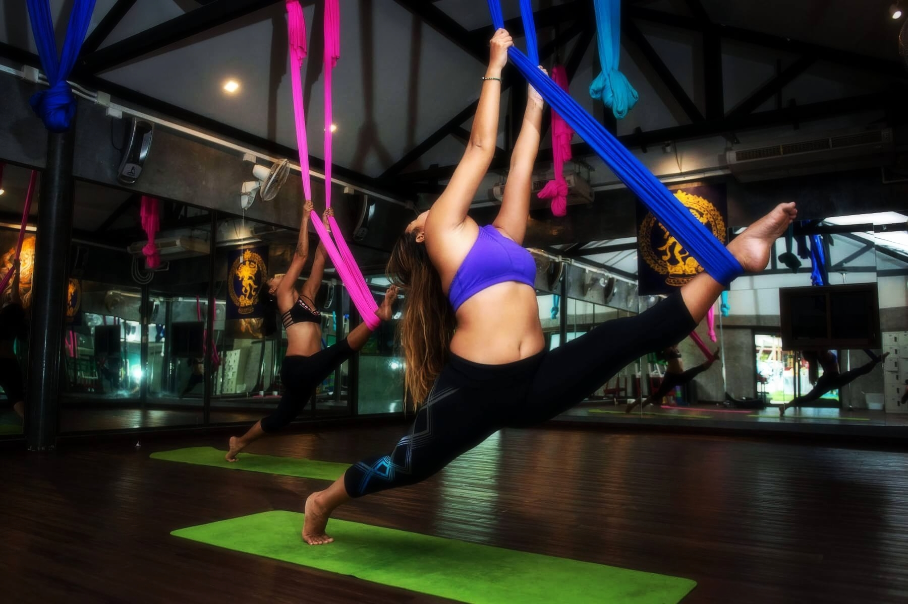 The Best Aerial Yoga Classes in Phuket, Chalong Thailand at 4 Elements Hot Yoga Resort.