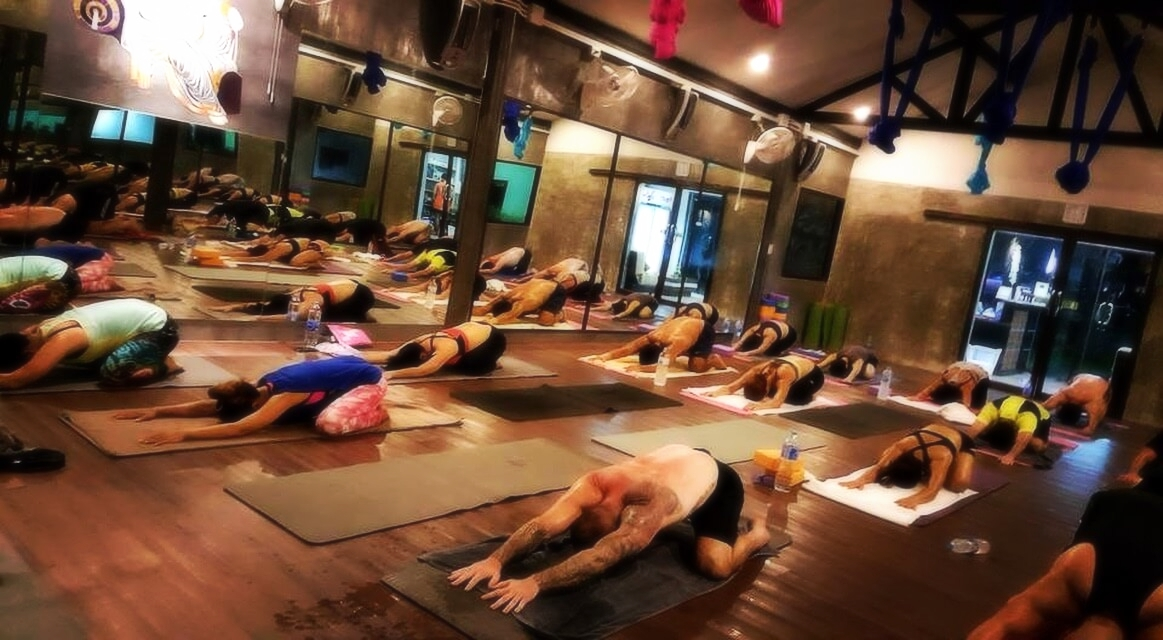 The best morning meditation deep-stretch hot yoga in Chalong Phuket, offered by 5 elements hot yoga resort.