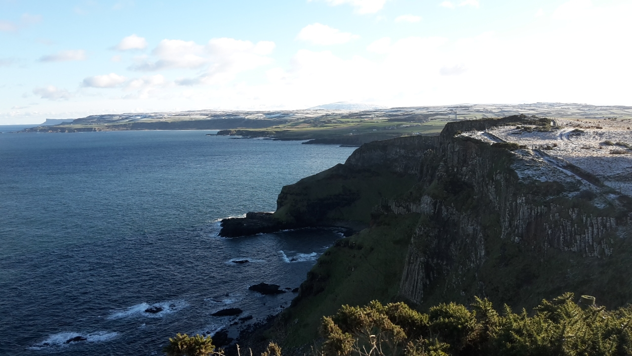 View of the North Antrim coast from Dunseverick, with our local icon Fairhead in the distance.
