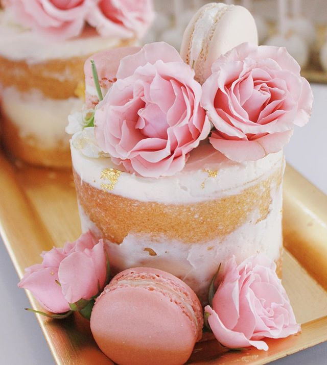 Cake lovers unite! A naked mini cake for one 🍰 #floral #pink #wedding #cake