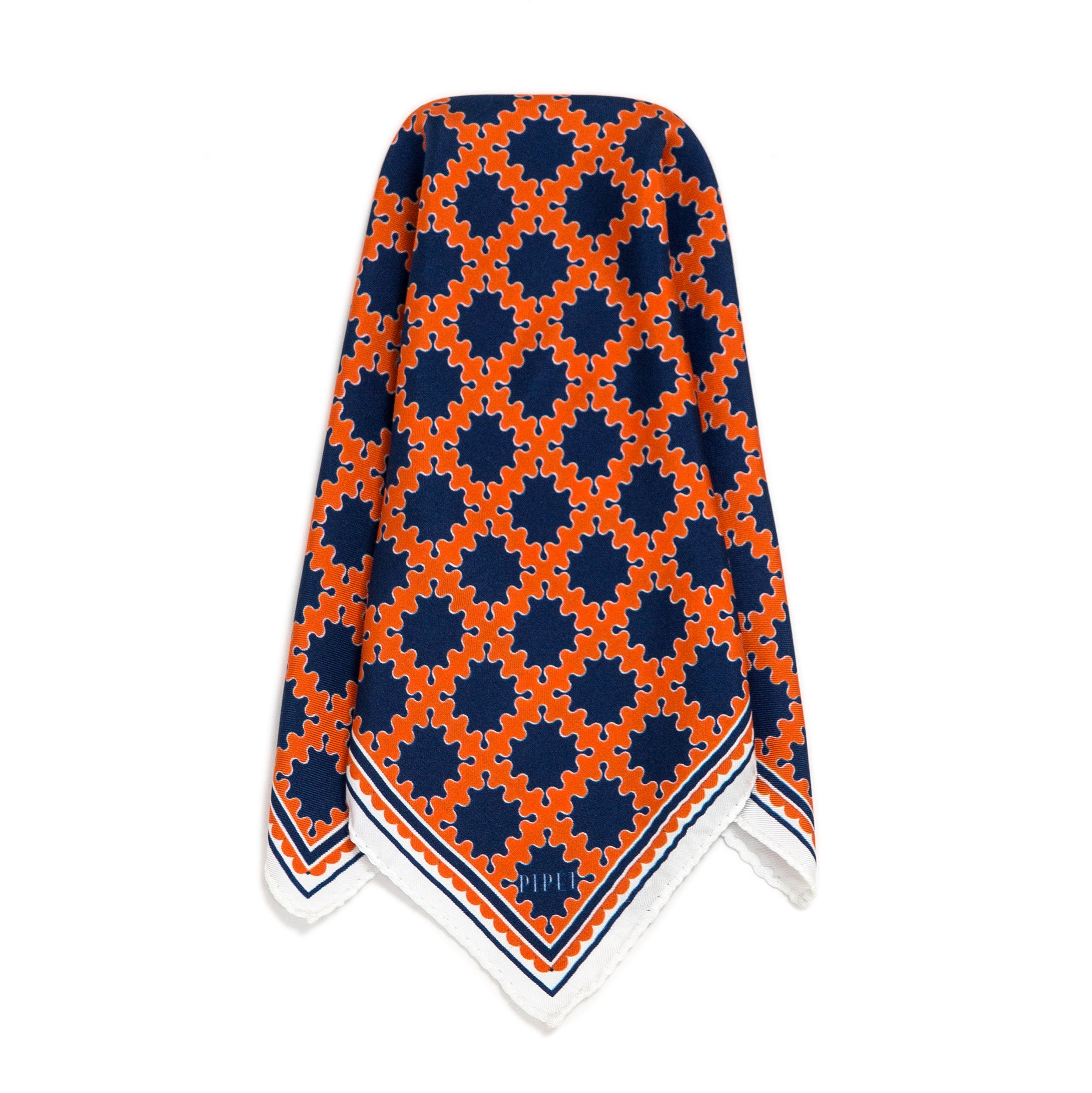 ©2017PIPETDESIGN Barbican Pocket Square Orange White SQ WHT HR.jpg