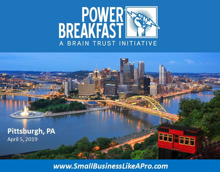 Inaugural POWER BREAKFAST event @ the Rivers Club in Pittsburgh, PA.