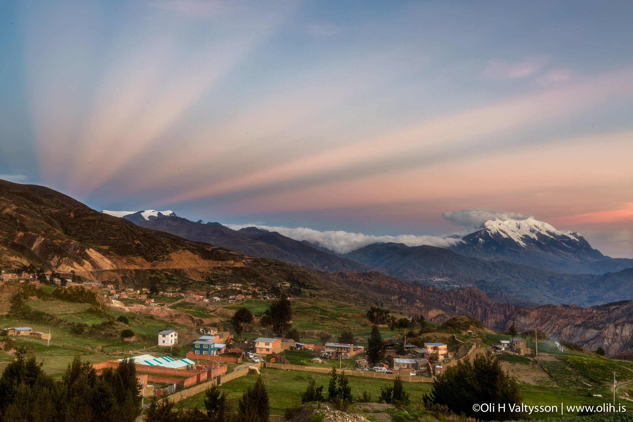 Small town with MT.Illimani in the Backround
