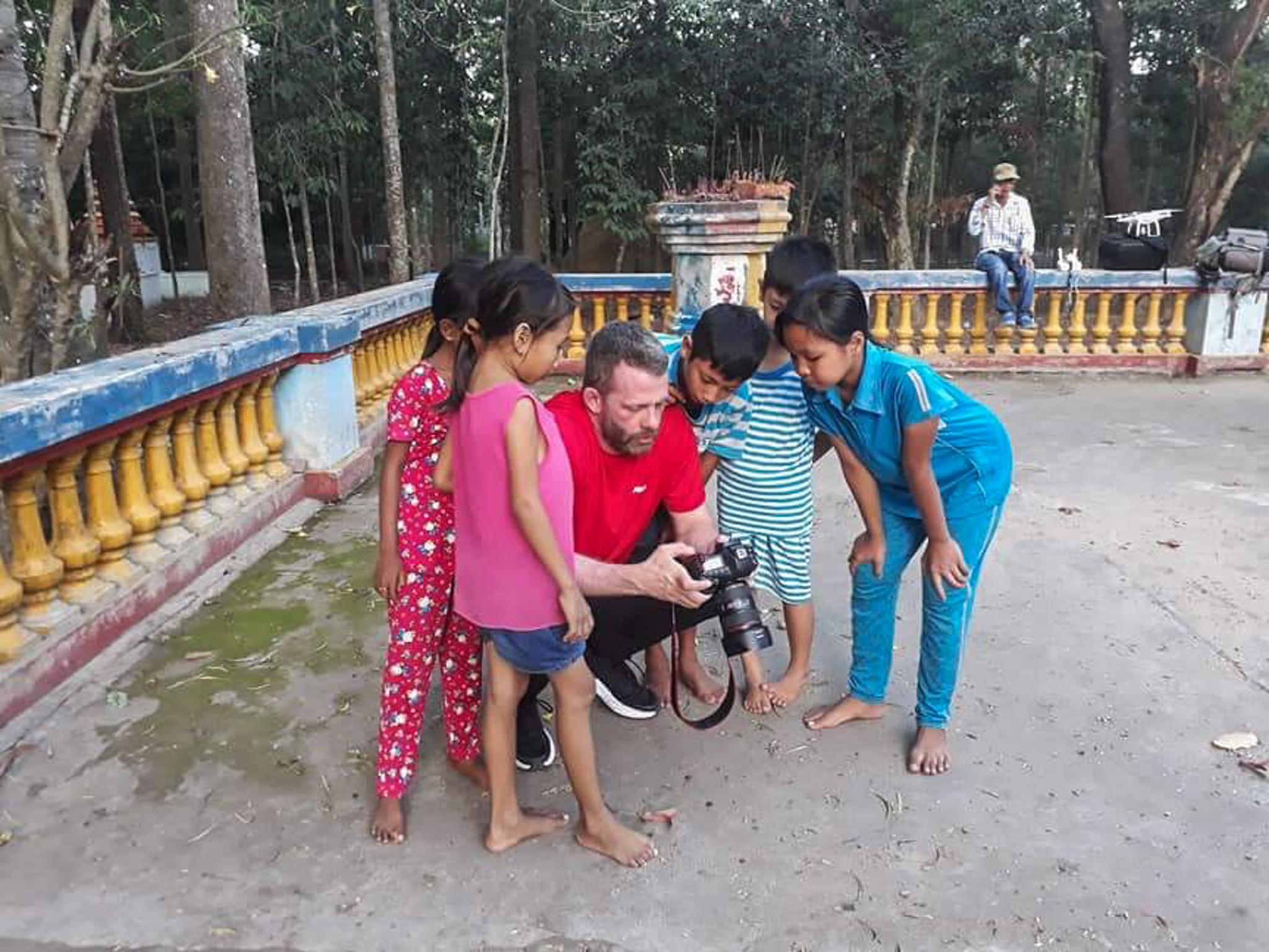 Kids In a Cambodian Temple in Vietnam