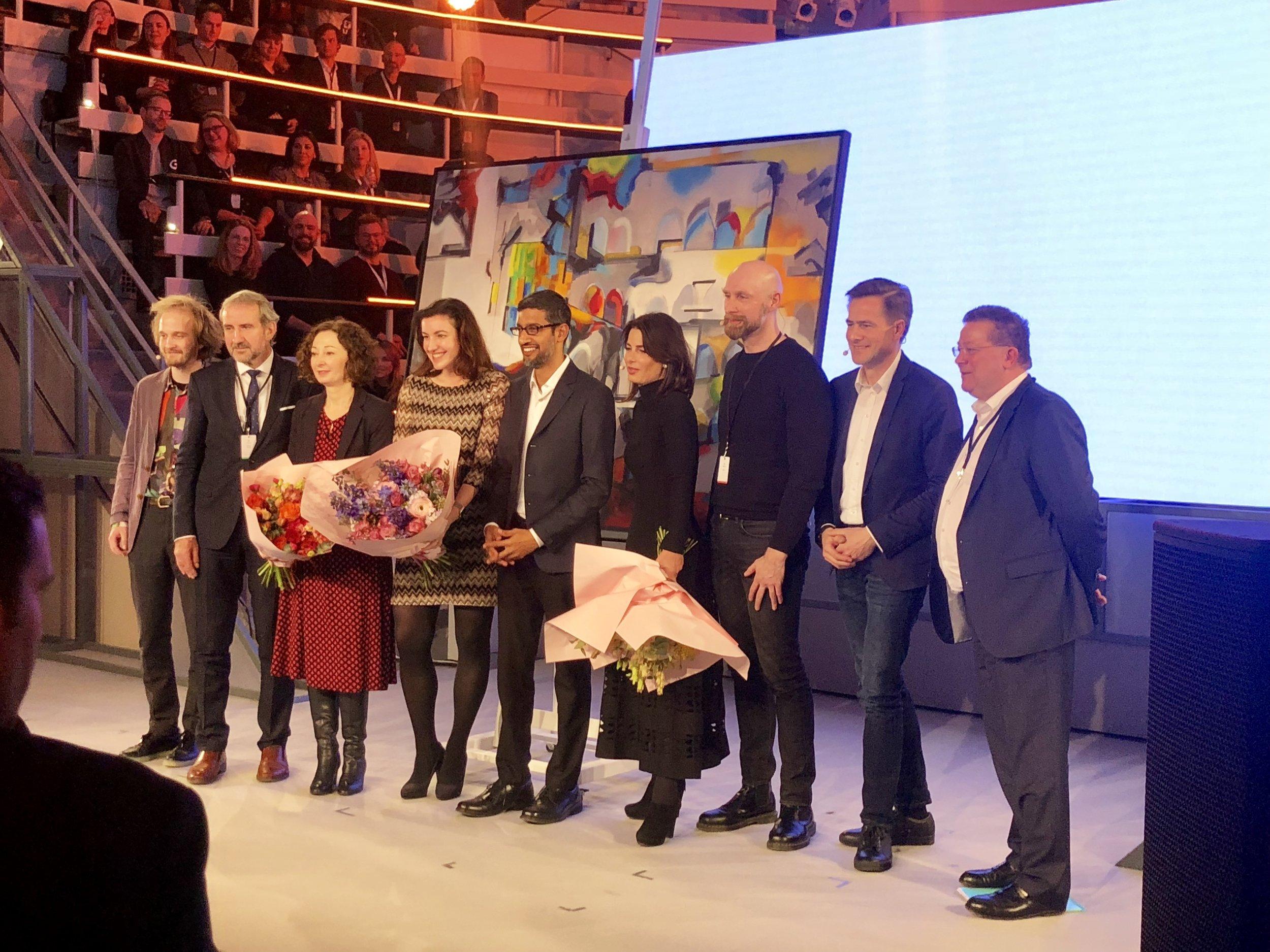 Festive unveiling of the artwork by Roman Lipski @ Google Opening