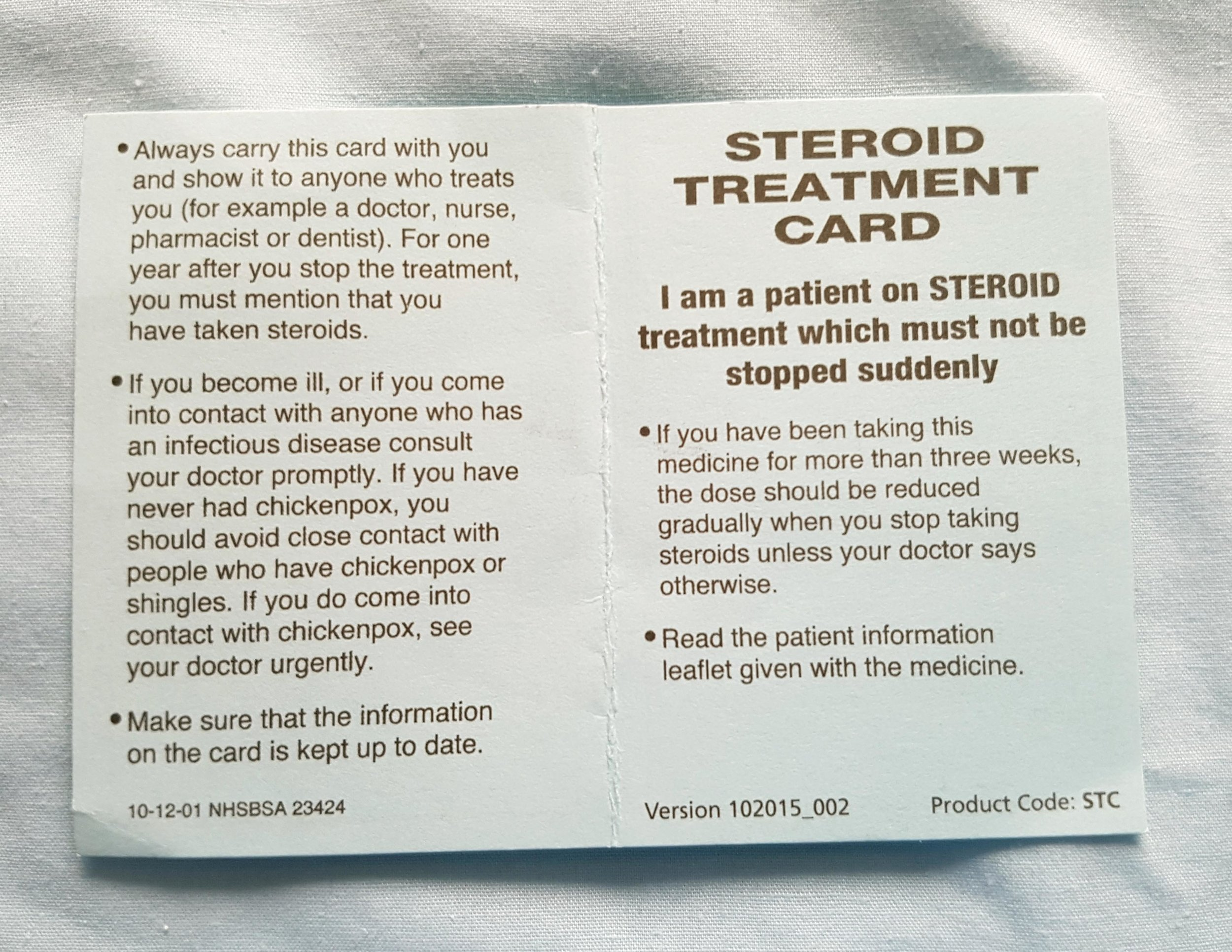 Once you start using steroids, you have to keep this card to hand for a year. ( Image: Bandidge )