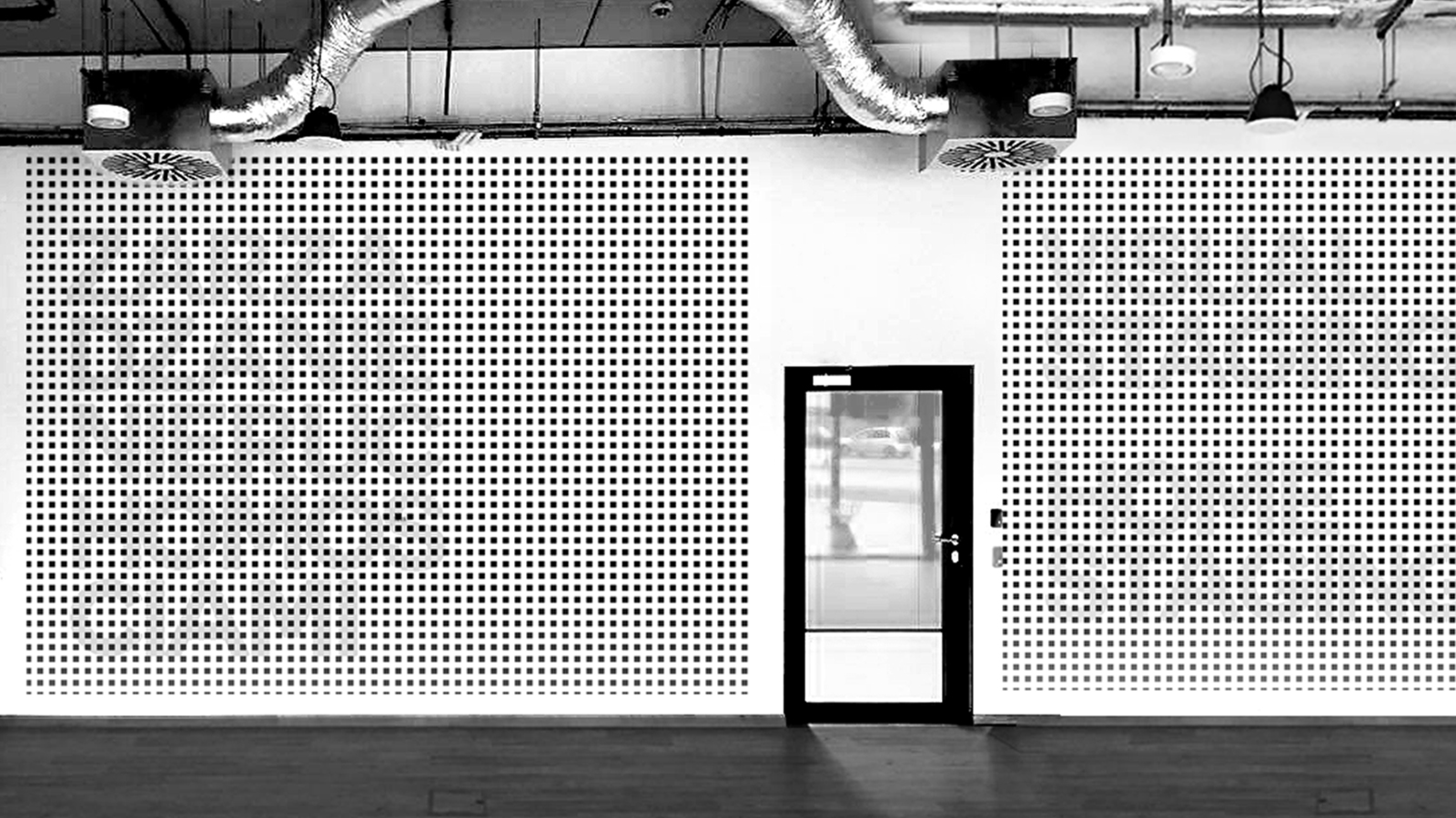 The optical art wall design proposal for the new office visible only for the pedestrians