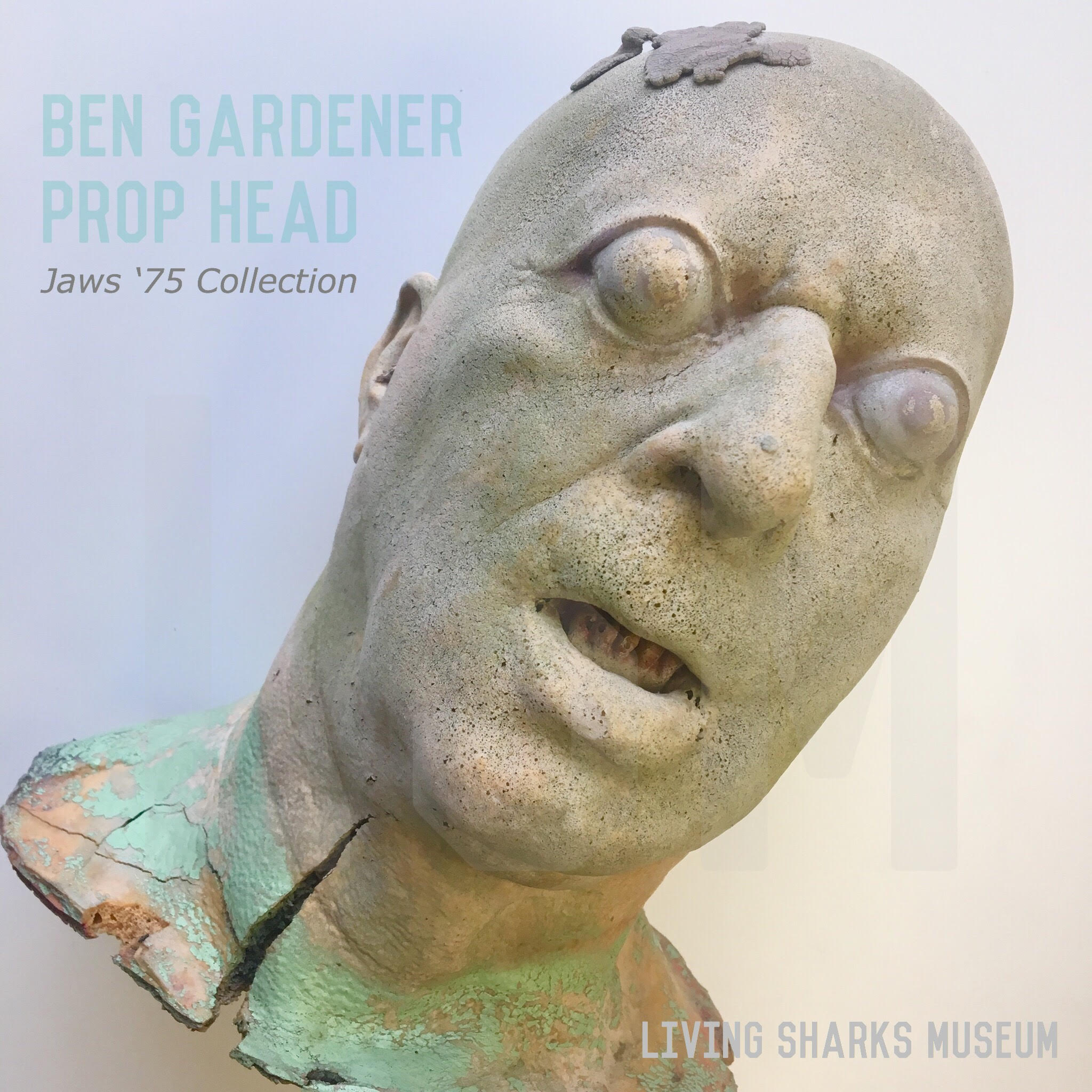 BEN GARDNER PROP - Famous for the climactic jumpscare successfully implemented by Jaws editor Verna Fields, the head of fisherman Ben Gardner reveals itself as Hooper investigates his sharkwrecked and sunken vessel. Molded to match actor Craig Kingsbury, this head was pulled from the original mold fashioned by propmaster Werner Keppler. Six months after the film had wrapped, director Steven Spielberg paid $3000 of his own money to shoot the scene underwater in a pool in Encino California, behind the same residence Fields was editing the film._____________________BEN GARDNER PROP HEADJaws 1975Private Collection - Keith M. Cowley