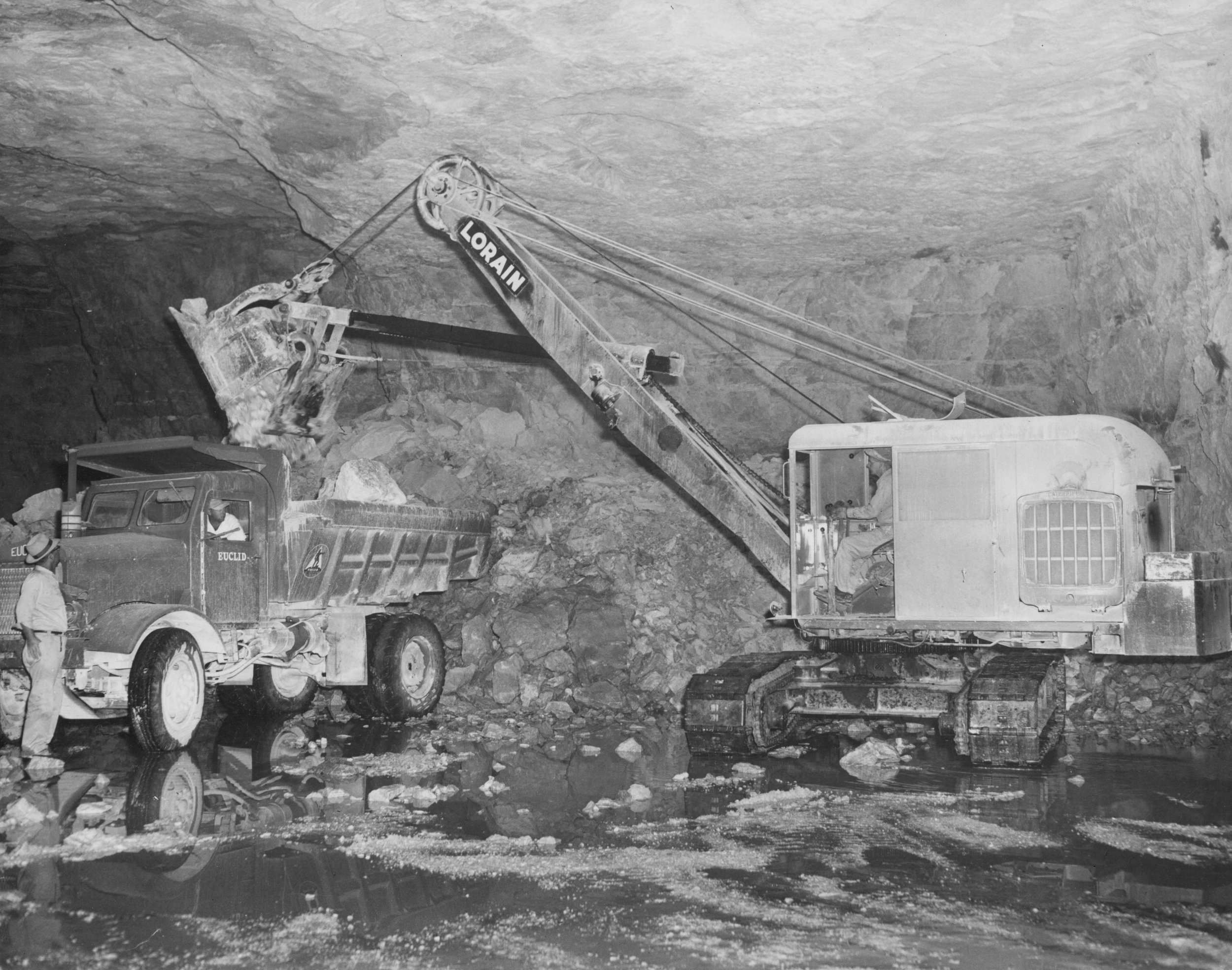 In 1954, mining operations went underground using the room and pillar method of mining in order to reduce dust and noise to the surrounding area.