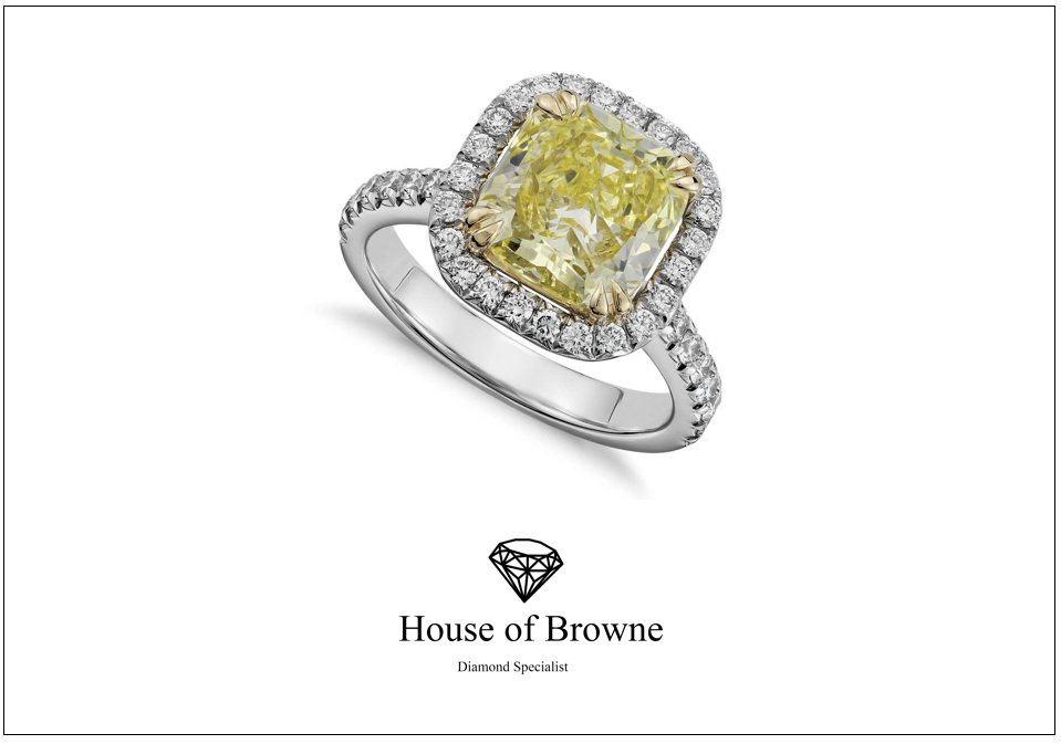 Our new fancy yellow cushion cut halo ring