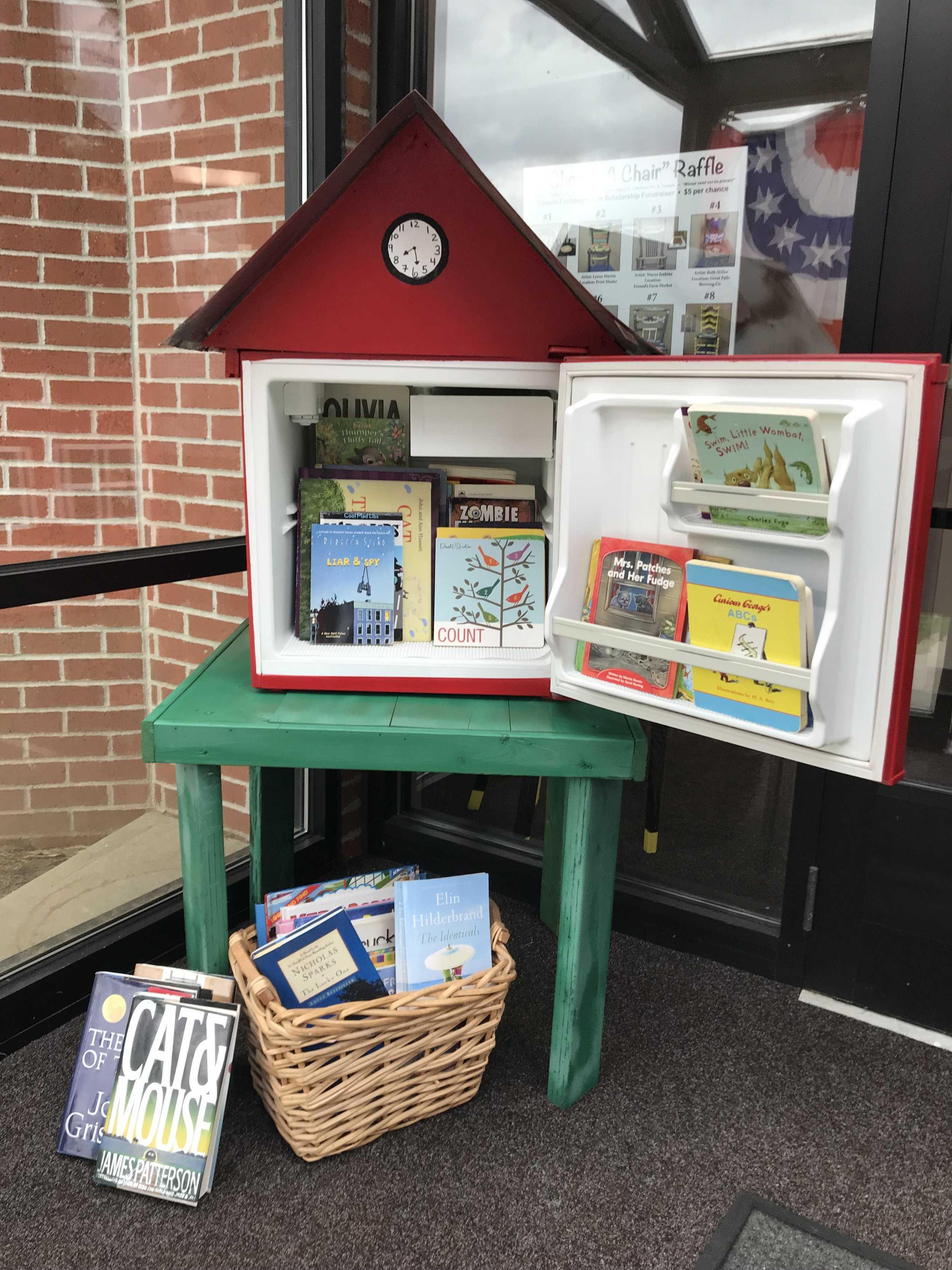 "Come visit our new ""Little Free Library"" started on May 16, 2019 by Barbara Leigh Johnson. Bring a book, take a book. Town Hall, 100 Pease street."