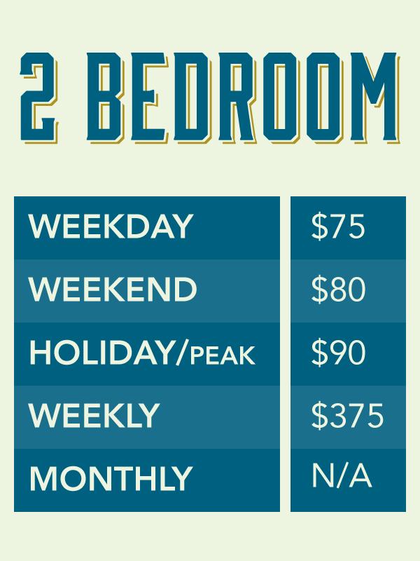 Arizona Oasis Colorado River Cabin Vacation Rental Rates - Two Bedroom