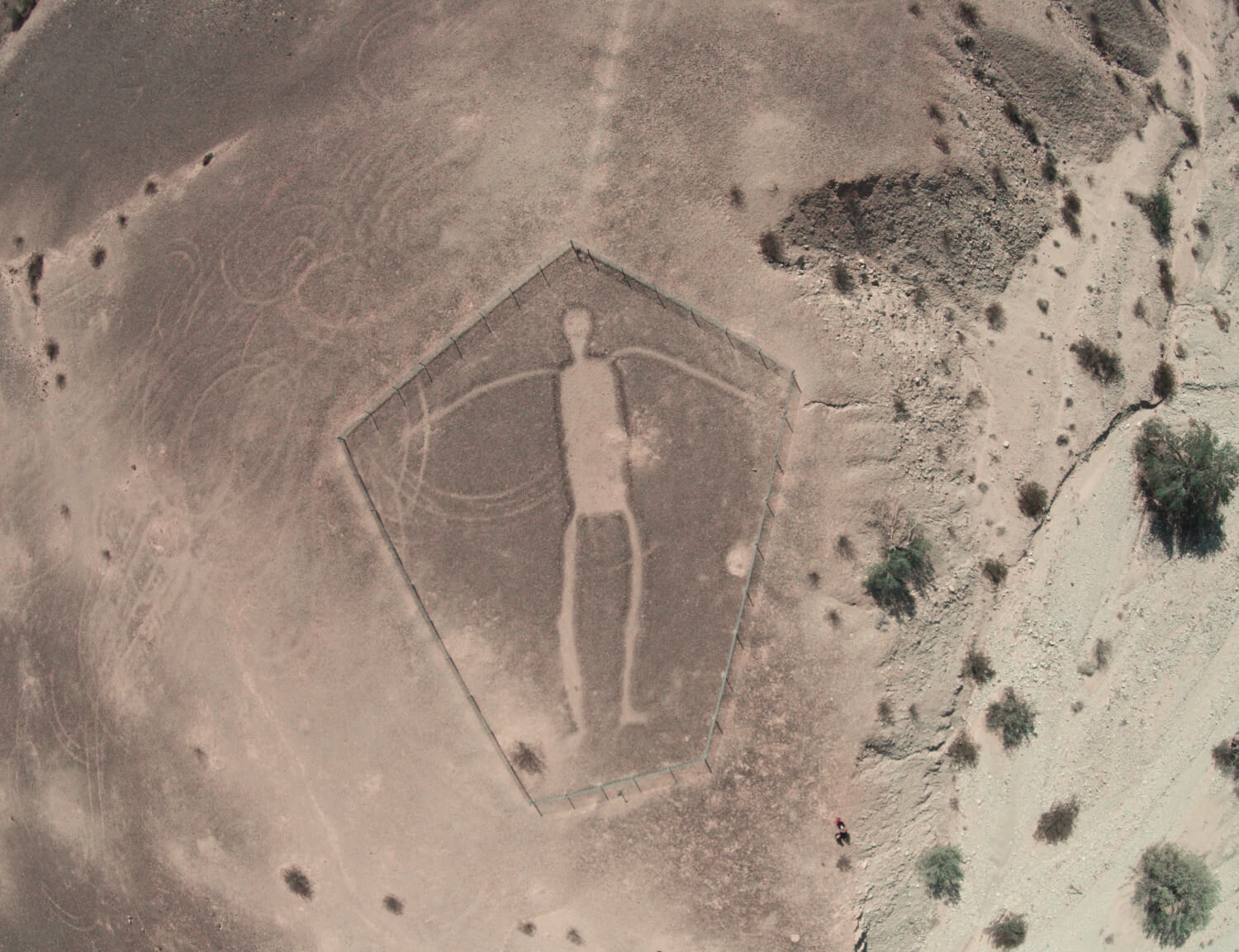 Human figure at the Blythe Intaglio site.  Photo Credit: Rsfinlayson [CC BY-SA 4.0 (https://creativecommons.org/licenses/by-sa/4.0)]