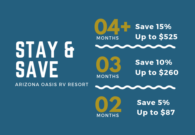 We've never done this before! - We want to say thank you to the folks who stay at Arizona Oasis for extended periods — for the first time, the longer you stay, the more you save! Call for more details! (928) 923-8230