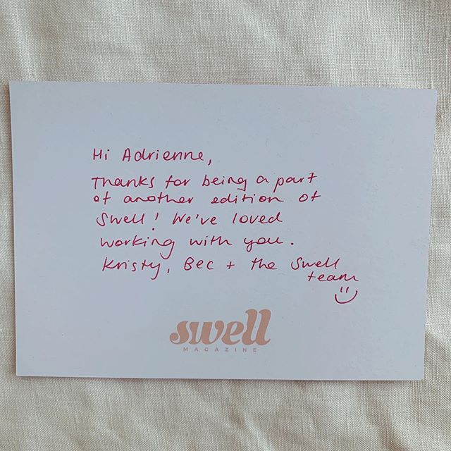 🌸LOVELY🌸 card from Editors and Creative Directors of @swell.mag, Bec, Kristy and the Swell team. Feeling so chuffed to work with them - they are incredible creatives! Looking forward to more projects with these awesome humans in the future. If you haven't already, check out @swell.mag - it's a gorgeously produced magazine all about Newcastle and surrounds.   -Adrienne xx