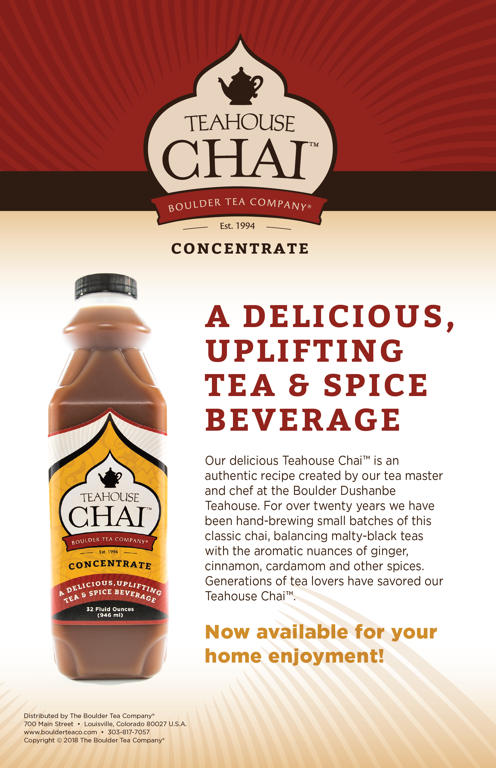 INGREDIENTS:  Black Tea (filtered water, black tea leaves), Organic Cane Sugar, Spices (whole ground), Citric Acid. Contains naturally occurring caffeine.